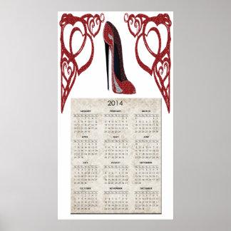 Röd affisch för kalender för stiletthjärta 2014