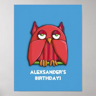 Röd affisch för ugglaaquafödelsedag poster