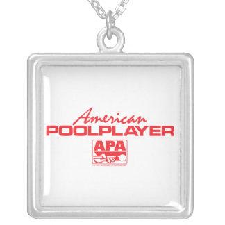 Röd amerikanbassängspelare - silverpläterat halsband