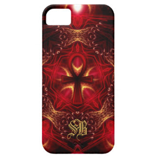 Röd Ankh energi+Guld- beställnings- Monogram iPhone 5 Fodraler