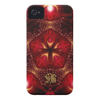 Röd Ankh energi+Guld- MonogramiPhone 4 iPhone 4 Case-Mate Skal