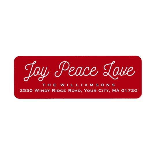 Röd anpassningsbar för kärlek för julglädjefred returadress etikett