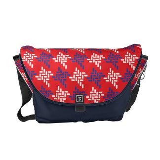 Röd anpassningsbar för vit- och blåttHoundstooth m Kurir Väska