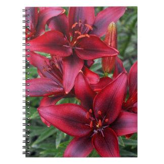 Röd anteckningsbok för blom- tryck för lilja