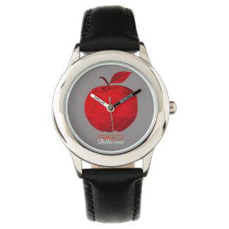 Röd Apple frukt - röd svart för läcker kall Armbandsur
