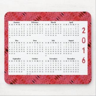 Röd årlig kalender för struktur 2016 musmatta