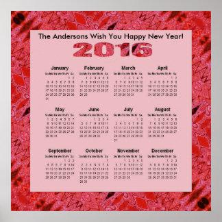 Röd årlig kalender för strukturmönster 2016 poster