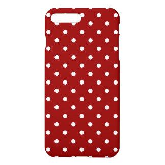 Röd bakgrund för liten vitpolka dots iPhone 7 plus skal