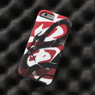 Röd bakgrund för svart japansk drake tough iPhone 6 case