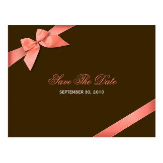 Röd bandbröllop spara datum 2 för korall vykort
