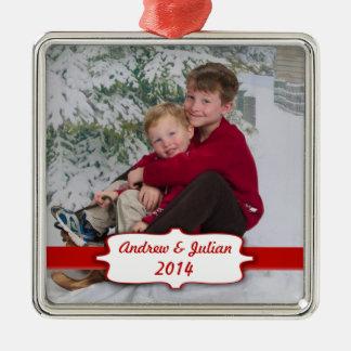 Röd banerfotoprydnad silverfärgad fyrkantigt julgransprydnad