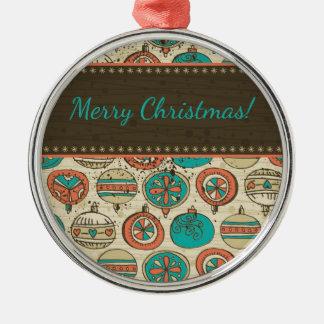Röd beige jul för vintageturkos som hänger boll rund silverfärgad julgransprydnad