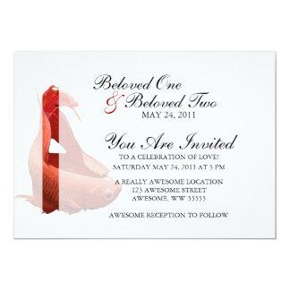 Röd Betta Siamese stridighetfisk 12,7 X 17,8 Cm Inbjudningskort