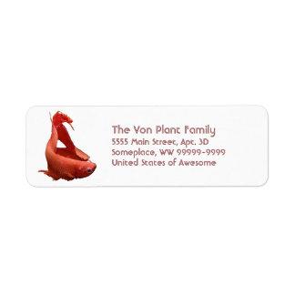Röd Betta Siamese stridighetfisk Returadress Etikett