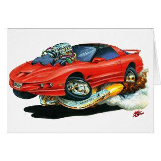 Röd bil 1993-97 för trans.-förmiddag hälsningskort
