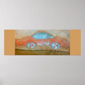 röd bil för affisch poster