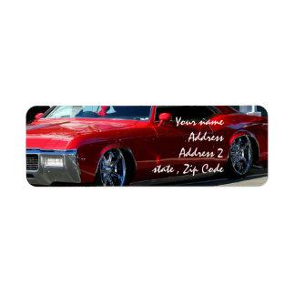 Röd bil för klassiker returadress etikett