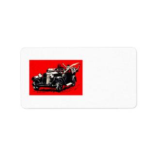Röd bil för Krampus kidnappningkvinnor Adressetikett