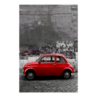 Röd bil poster