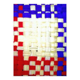 Röd, blått- och gultvävmönster 14 x 19,5 cm inbjudningskort