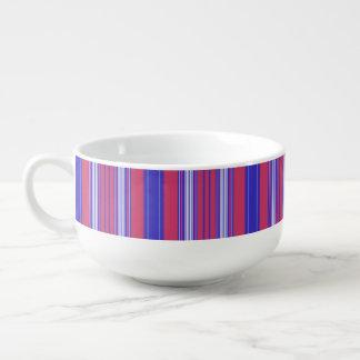 Röd blått- och vitrand för bär stor kopp för soppa