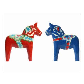 Röd & blåttDala häst Vykort