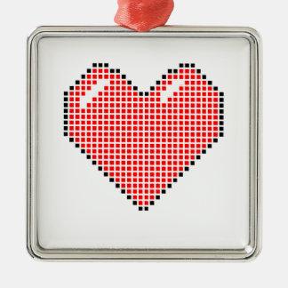 Röd Blocky hjärta Julgransprydnad Metall