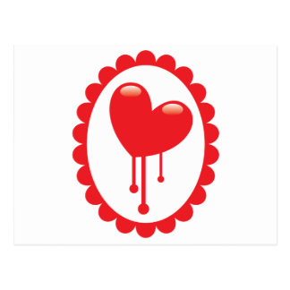 Röd blöda hjärta på en cameo vykort
