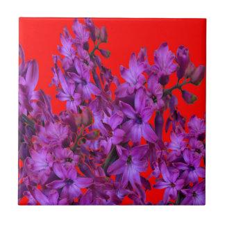 RÖD blom- gåva för Amethyst purpurfärgad hyacint Kakelplatta