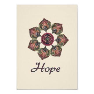 Röd blomma för HOPPtygCollage och blått 12,7 X 17,8 Cm Inbjudningskort