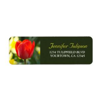 Röd blomma för tulpan | returadress etikett