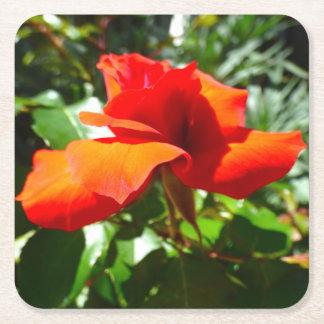 Röd blomma underlägg papper kvadrat