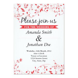 Röd blommabröllopinbjudan 12,7 x 17,8 cm inbjudningskort