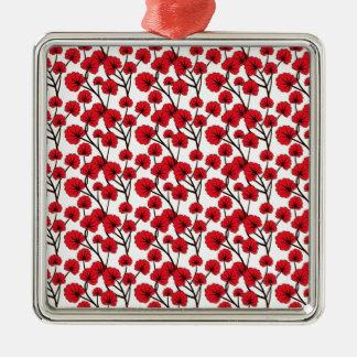 Röd blommamönsterdesign julgransprydnad metall