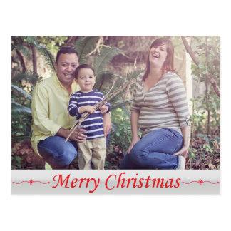 Röd bokstävervykort för god jul vykort