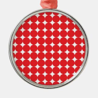 Röd boll rund silverfärgad julgransprydnad