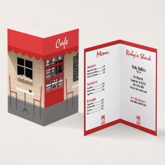 röd caferestaurangvisitkort visitkort