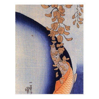 Röd Carp under wisteria av Utagawa Kuniyoshi Vykort