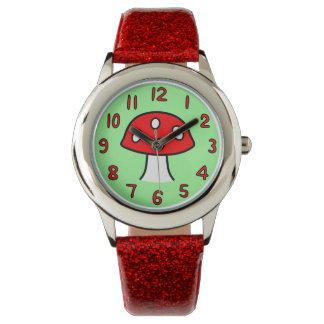 Röd champinjonklocka (barnet) armbandsur