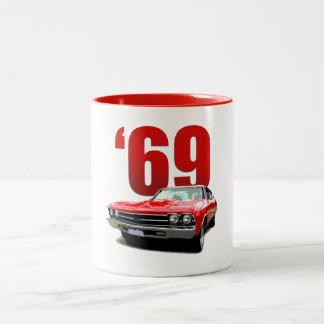 Röd Chevelle coupe 1969 Två-Tonad Mugg