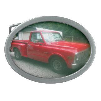 Röd Chevy C10 Stepside lastbil 1972