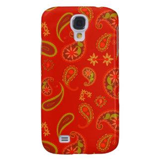 Röd Chilipeppar och limefrukt gröna Paisley Pern Galaxy S4 Fodral