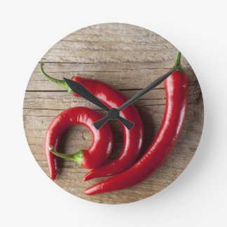 Röd Chilipeppar Rund Klocka