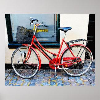 Röd cykel, Köpenhamn, Danmark Poster