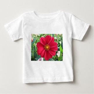 Röd Dahliablomma i en trädgård T Shirt