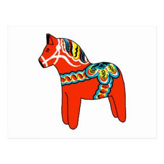 Röd Dala häst Vykort