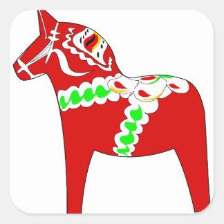 Röd Dalarna häst Fyrkantigt Klistermärke