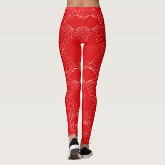 Röd damasker för jul leggings