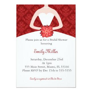 Röd damast för klänninginbjudanmöhippa 12,7 x 17,8 cm inbjudningskort