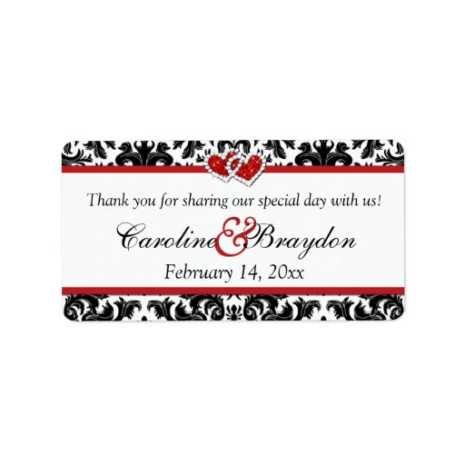 Röd damast för svart vit, hjärtor som gifta sig adressetikett